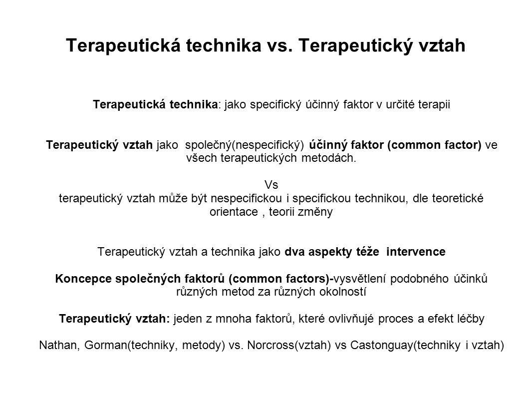 Terapeutická technika vs. Terapeutický vztah