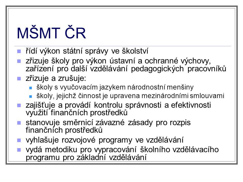 MŠMT ČR řídí výkon státní správy ve školství
