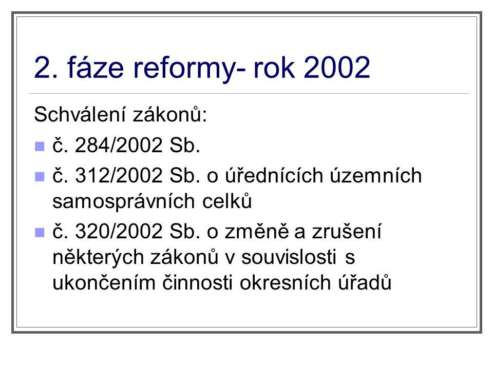 2. fáze reformy- rok 2002 Schválení zákonů: č. 284/2002 Sb.