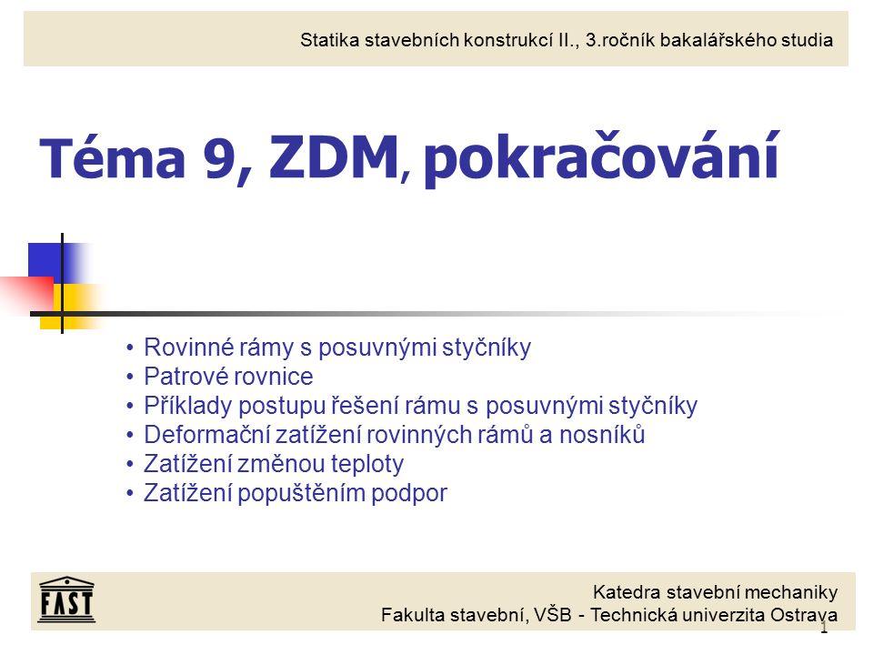 Téma 9, ZDM, pokračování Rovinné rámy s posuvnými styčníky