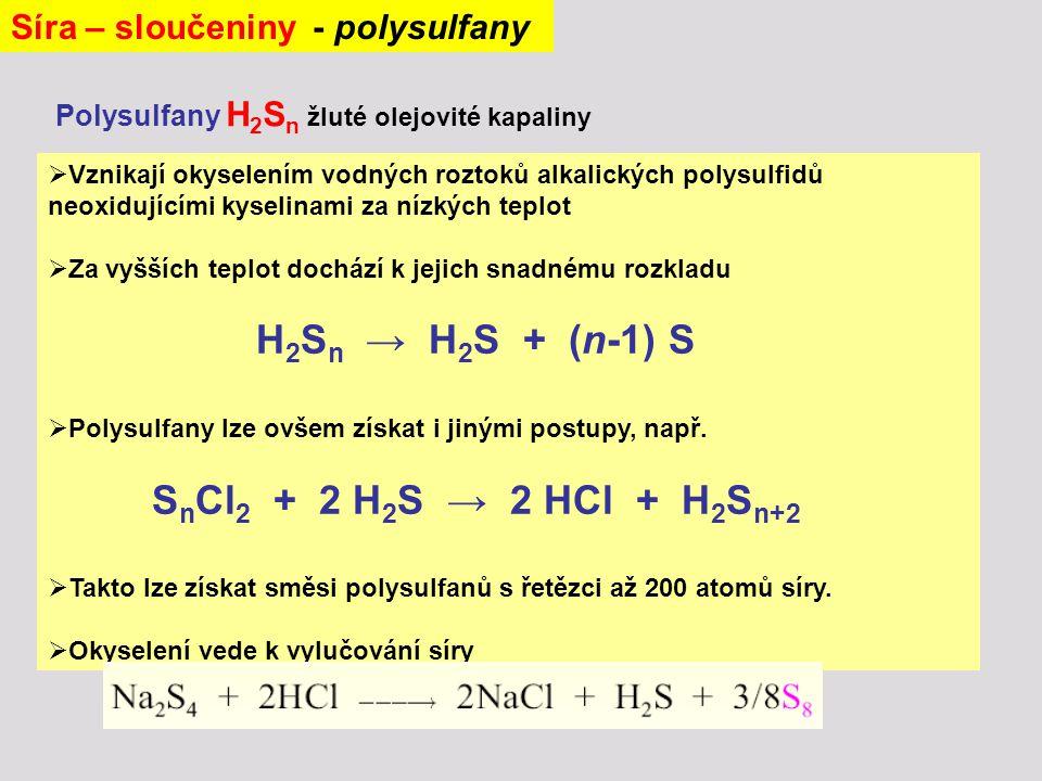 Síra – sloučeniny - polysulfany