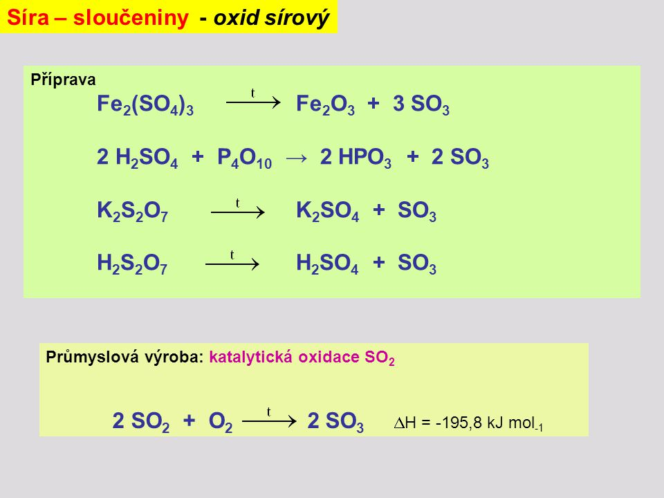 Síra – sloučeniny - oxid sírový