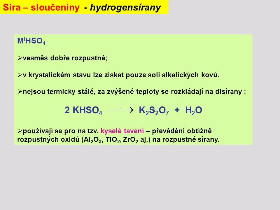 Síra – sloučeniny - hydrogensírany