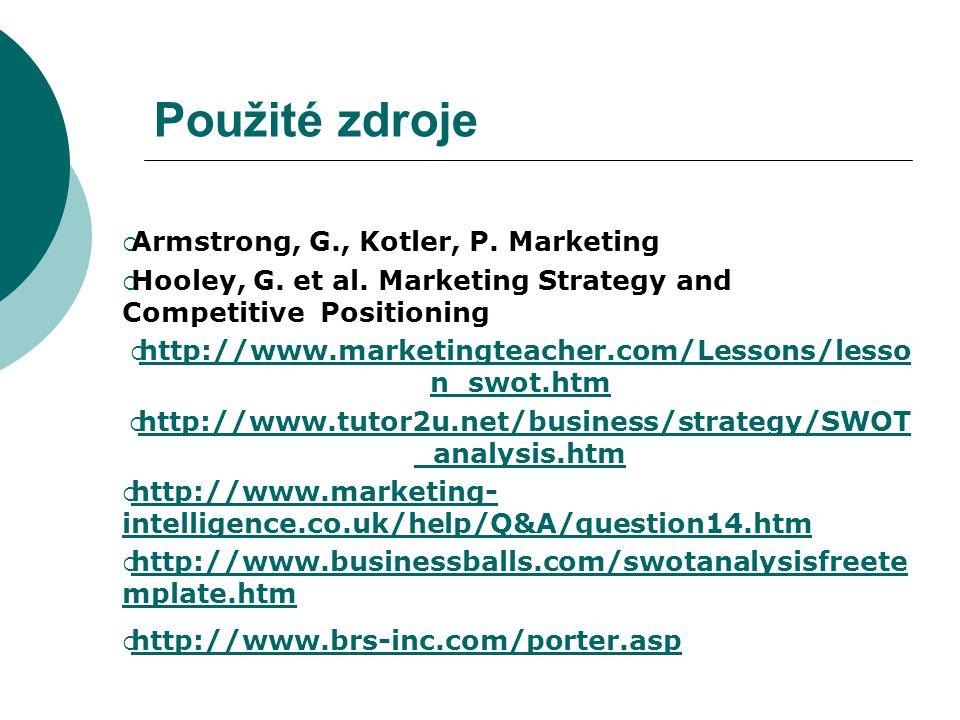 Použité zdroje Armstrong, G., Kotler, P. Marketing