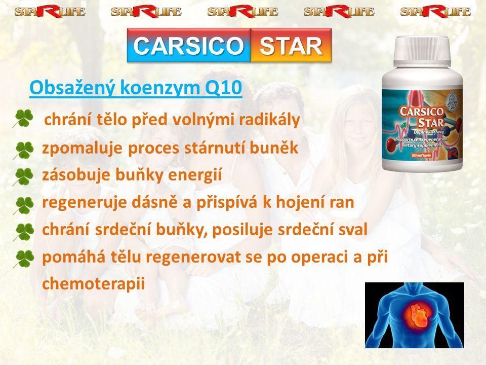 CARSICO STAR Obsažený koenzym Q10 chrání tělo před volnými radikály