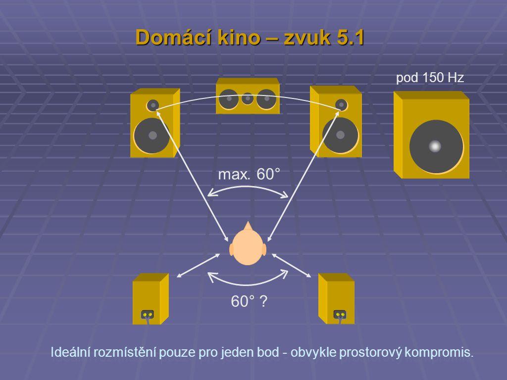 Domácí kino – zvuk 5.1 max. 60° 60° pod 150 Hz