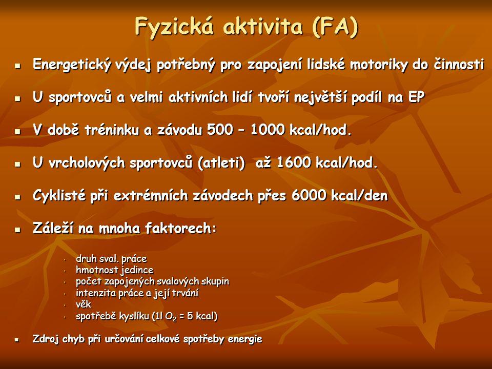 Fyzická aktivita (FA) Energetický výdej potřebný pro zapojení lidské motoriky do činnosti.