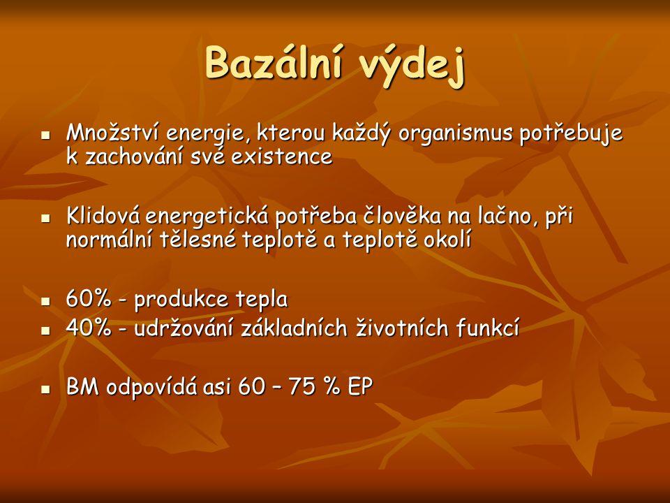 Bazální výdej Množství energie, kterou každý organismus potřebuje k zachování své existence.