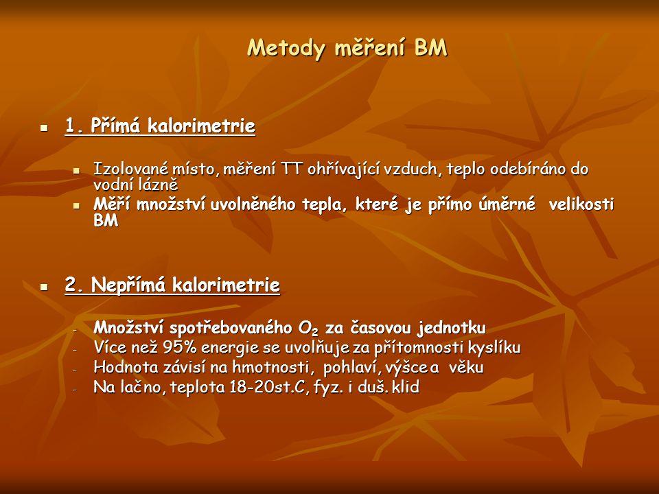 Metody měření BM 1. Přímá kalorimetrie 2. Nepřímá kalorimetrie