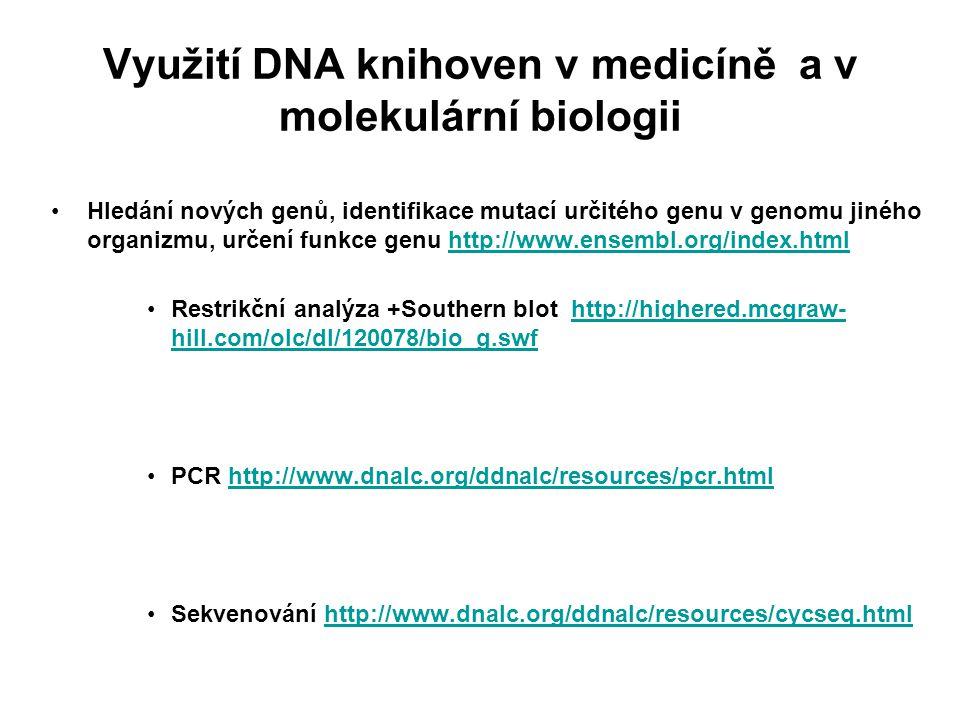 Využití DNA knihoven v medicíně a v molekulární biologii