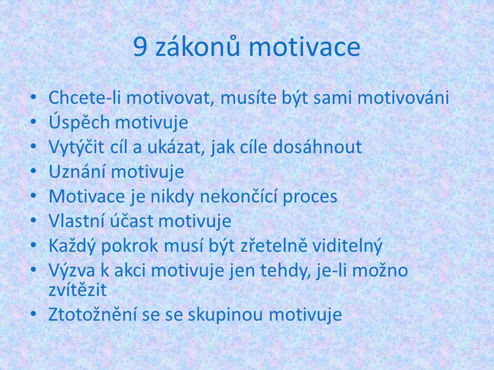 9 zákonů motivace Chcete-li motivovat, musíte být sami motivováni