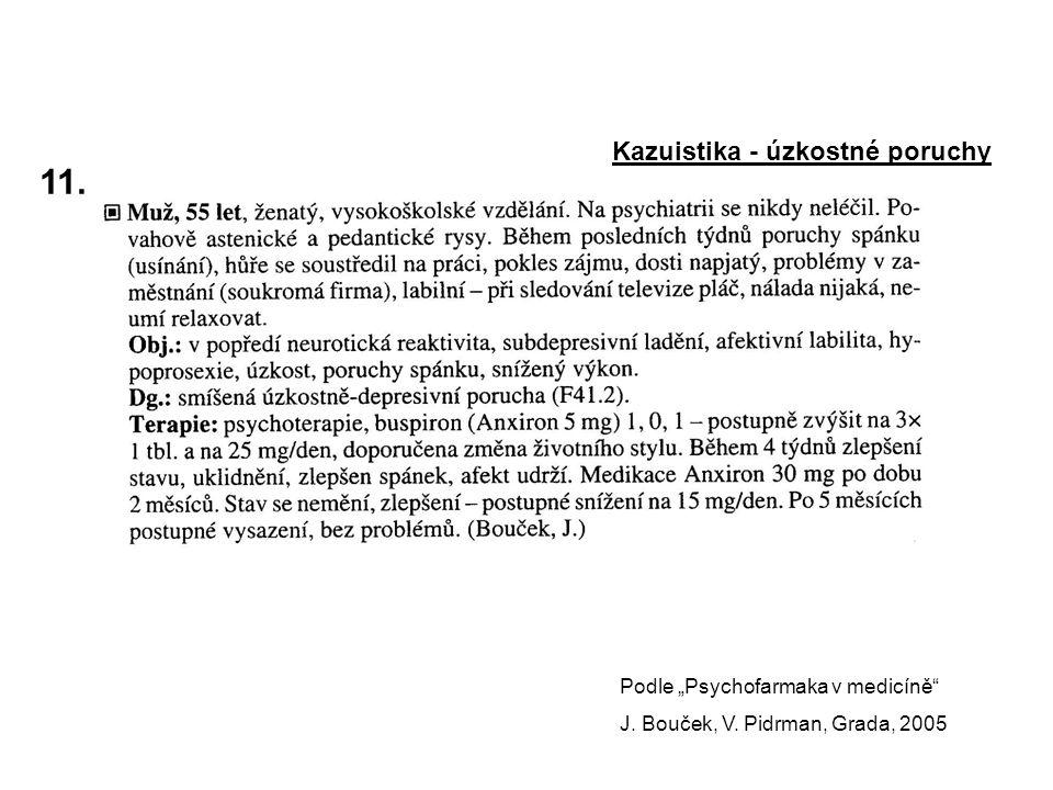 """11. Kazuistika - úzkostné poruchy Podle """"Psychofarmaka v medicíně"""