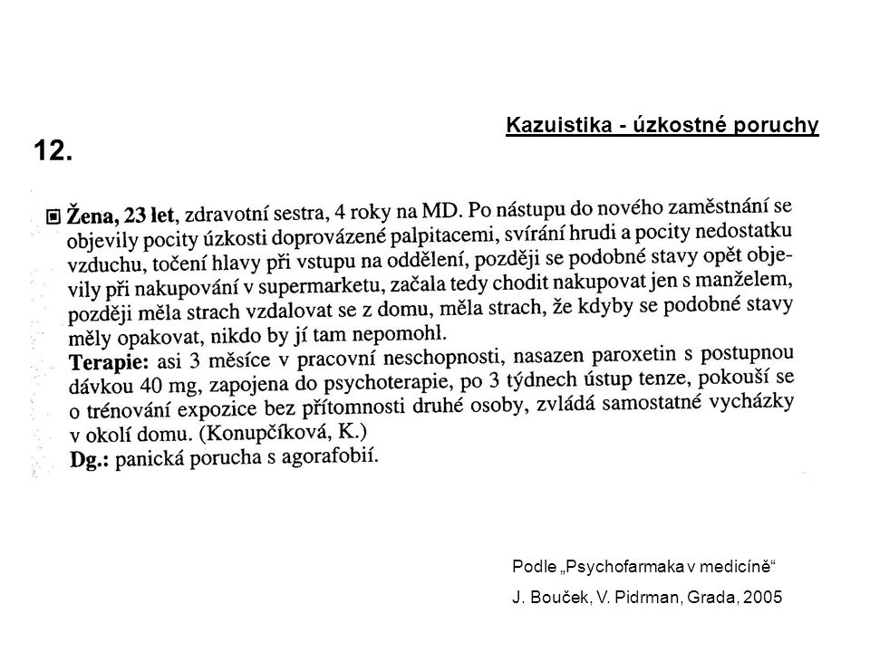 """12. Kazuistika - úzkostné poruchy Podle """"Psychofarmaka v medicíně"""