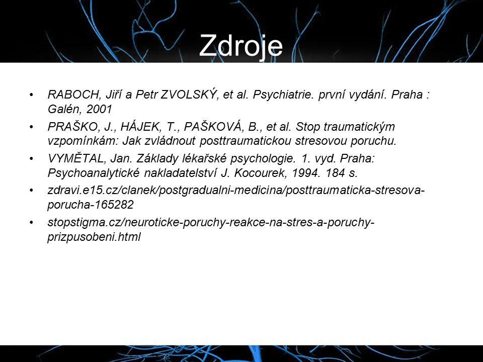 Zdroje RABOCH, Jiří a Petr ZVOLSKÝ, et al. Psychiatrie. první vydání. Praha : Galén, 2001.