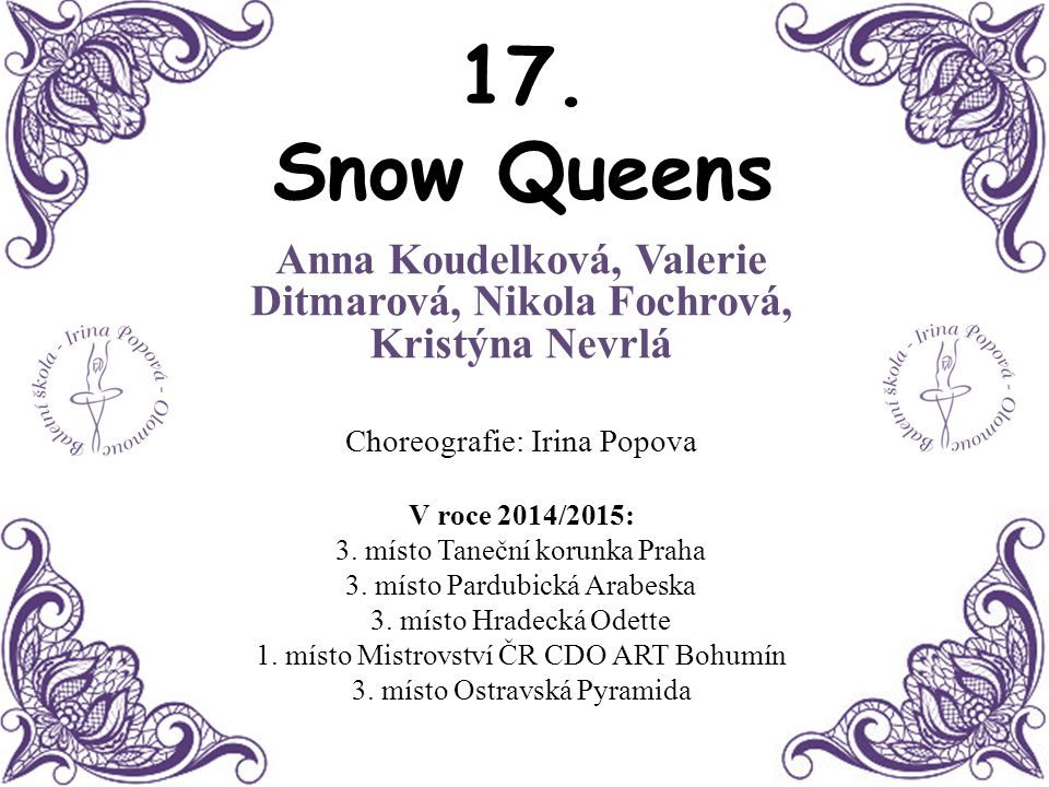 Anna Koudelková, Valerie Ditmarová, Nikola Fochrová, Kristýna Nevrlá