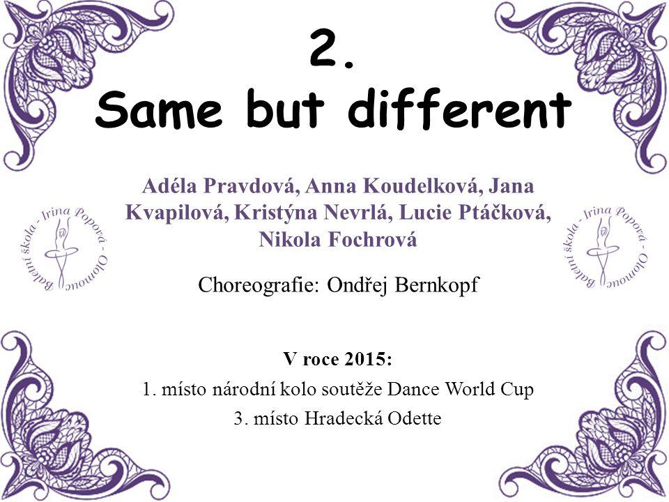 2. Same but different Adéla Pravdová, Anna Koudelková, Jana Kvapilová, Kristýna Nevrlá, Lucie Ptáčková, Nikola Fochrová.