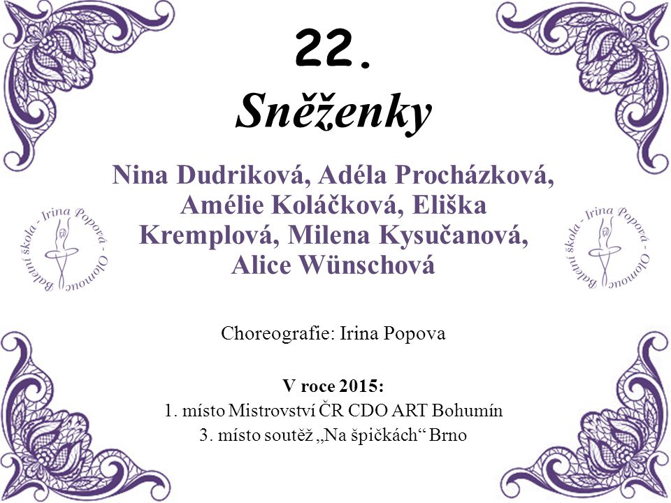 22. Sněženky Nina Dudriková, Adéla Procházková, Amélie Koláčková, Eliška Kremplová, Milena Kysučanová, Alice Wünschová.