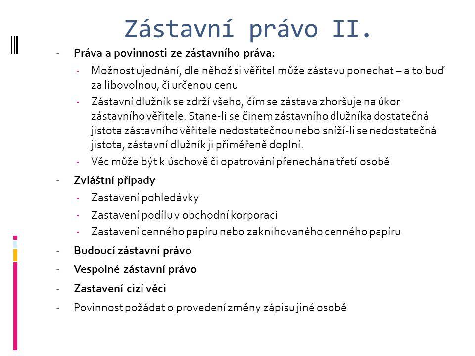 Zástavní právo II. Práva a povinnosti ze zástavního práva: