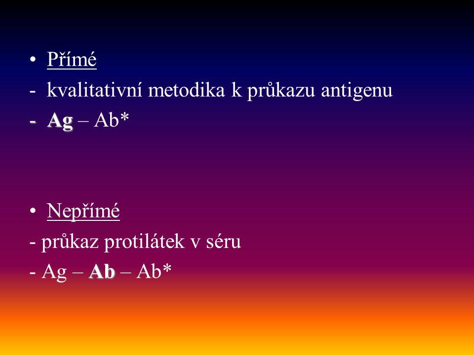 Přímé kvalitativní metodika k průkazu antigenu. Ag – Ab* Nepřímé.