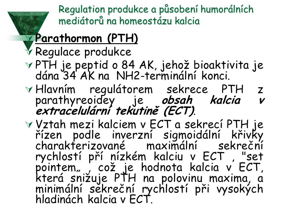 Parathormon (PTH) Regulace produkce