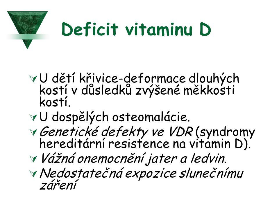 Deficit vitaminu D U dětí křivice-deformace dlouhých kostí v důsledků zvýšené měkkosti kostí. U dospělých osteomalácie.