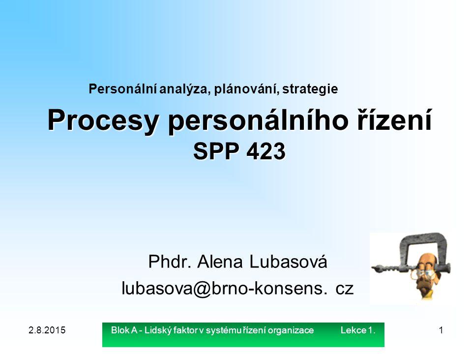 Procesy personálního řízení SPP 423