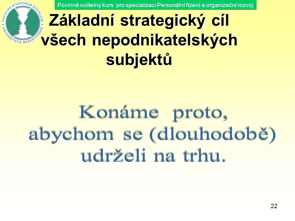 Základní strategický cíl všech nepodnikatelských subjektů