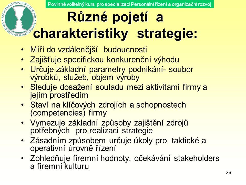 Různé pojetí a charakteristiky strategie: