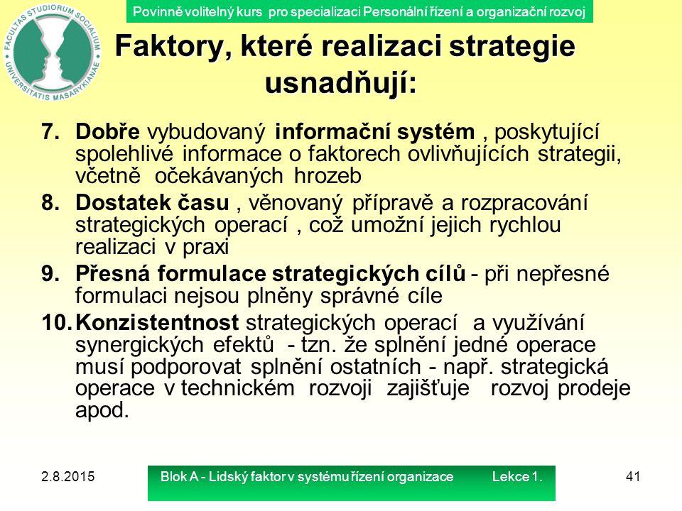 Faktory, které realizaci strategie usnadňují: