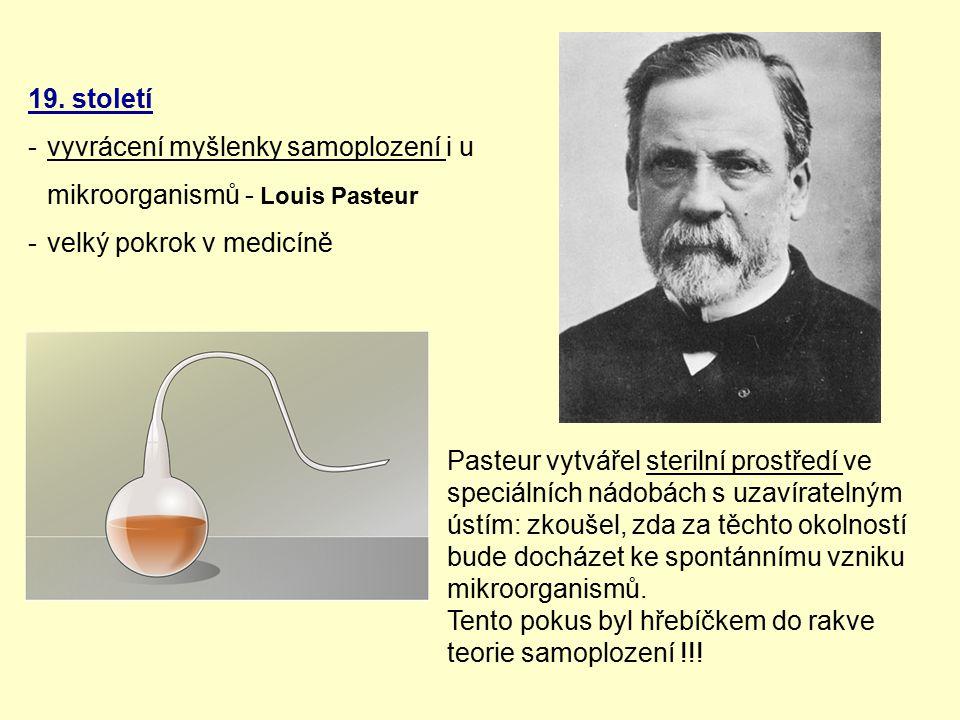 19. století vyvrácení myšlenky samoplození i u mikroorganismů - Louis Pasteur. velký pokrok v medicíně.