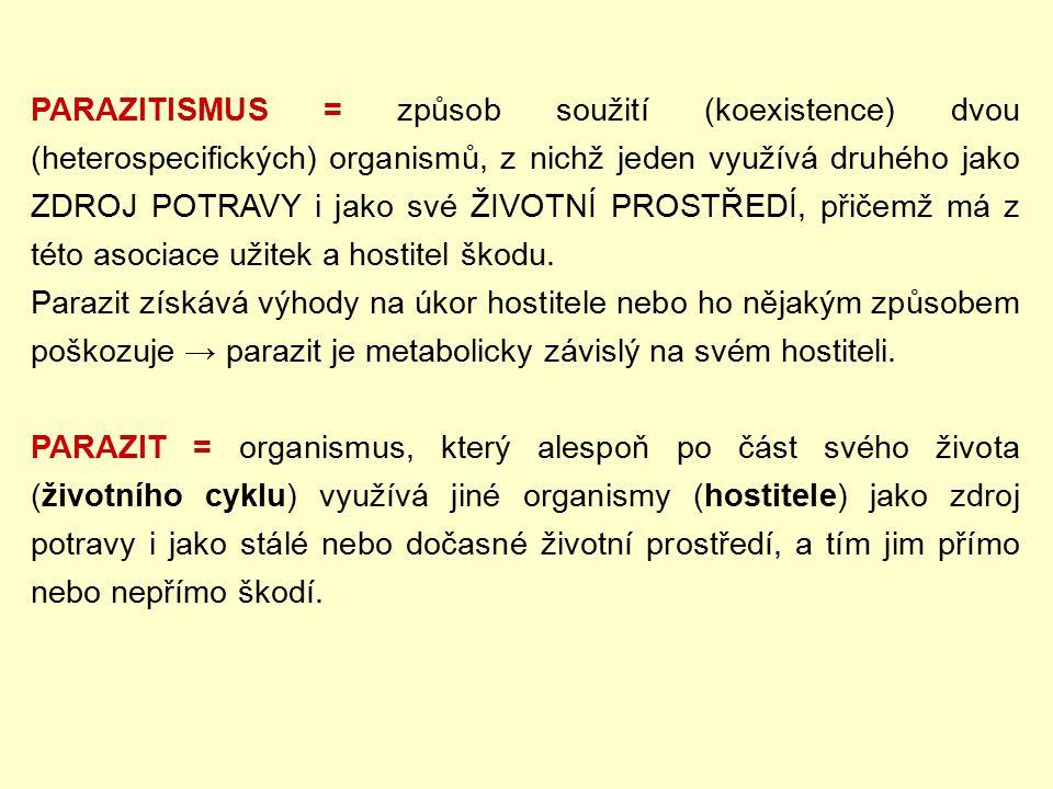 PARAZITISMUS = způsob soužití (koexistence) dvou (heterospecifických) organismů, z nichž jeden využívá druhého jako ZDROJ POTRAVY i jako své ŽIVOTNÍ PROSTŘEDÍ, přičemž má z této asociace užitek a hostitel škodu.