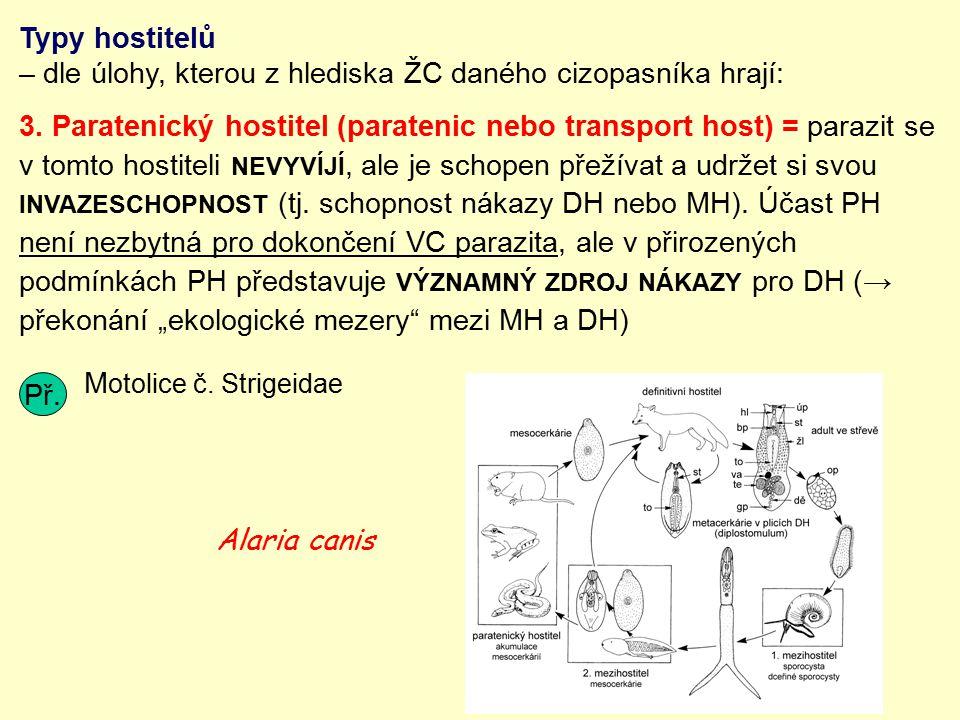Typy hostitelů – dle úlohy, kterou z hlediska ŽC daného cizopasníka hrají:
