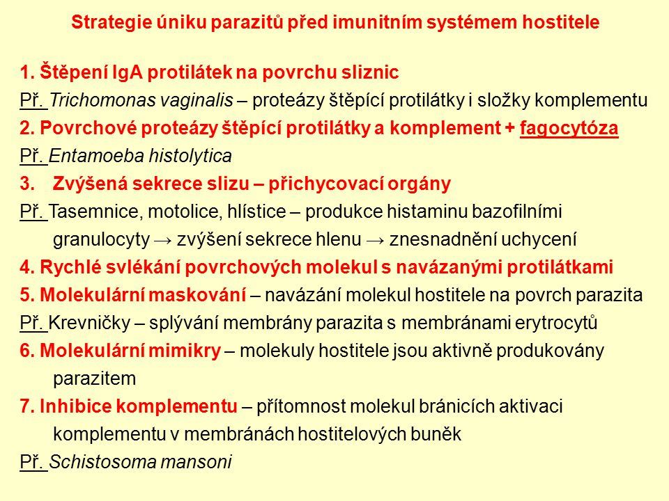 Strategie úniku parazitů před imunitním systémem hostitele