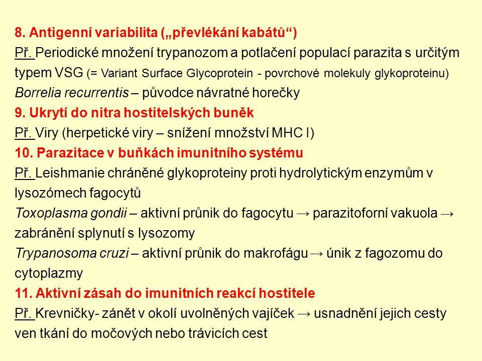 """8. Antigenní variabilita (""""převlékání kabátů )"""