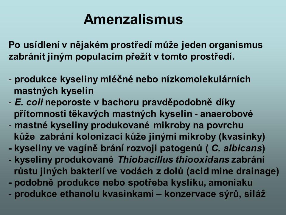 Amenzalismus Po usídlení v nějakém prostředí může jeden organismus