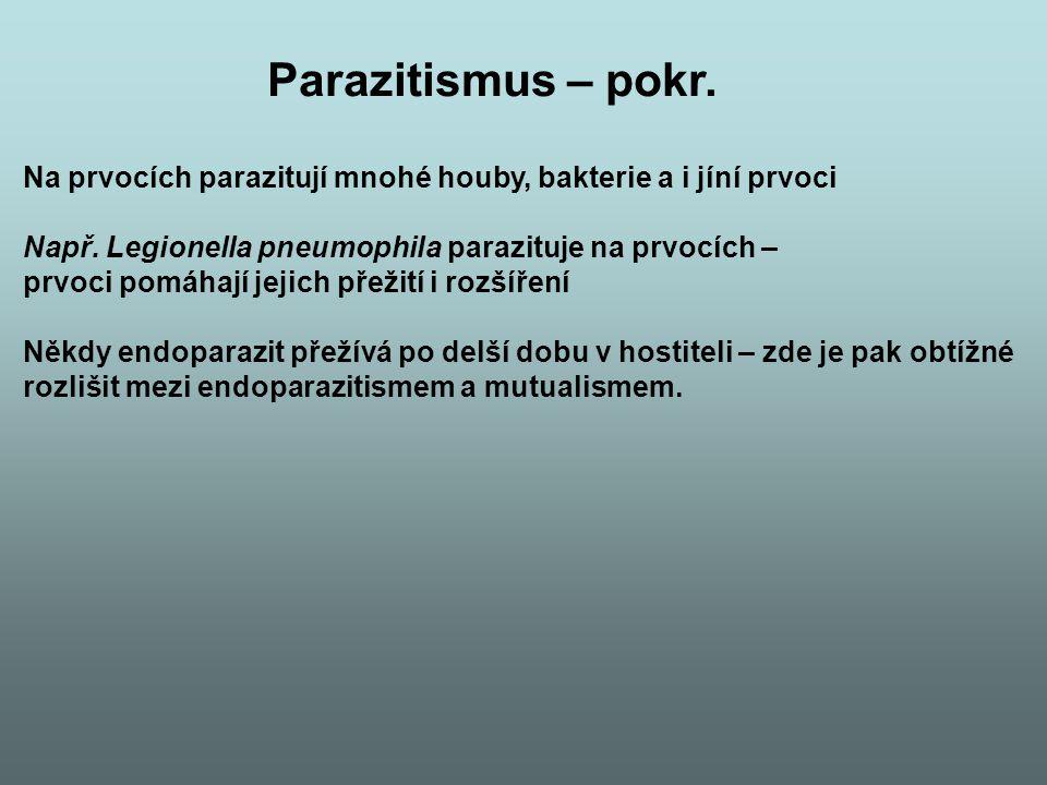 Parazitismus – pokr. Na prvocích parazitují mnohé houby, bakterie a i jíní prvoci. Např. Legionella pneumophila parazituje na prvocích –