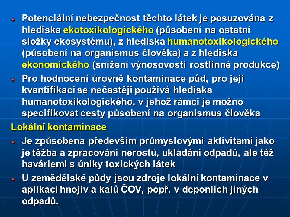 Potenciální nebezpečnost těchto látek je posuzována z hlediska ekotoxikologického (působení na ostatní složky ekosystému), z hlediska humanotoxikologického (působení na organismus člověka) a z hlediska ekonomického (snížení výnosovosti rostlinné produkce)