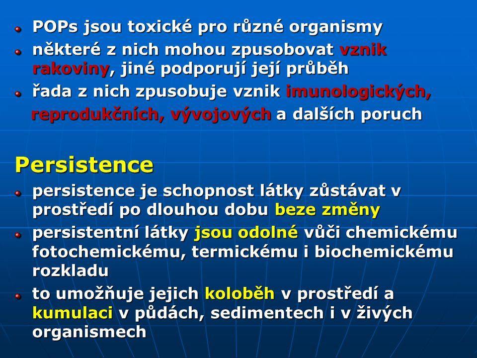 Persistence POPs jsou toxické pro různé organismy