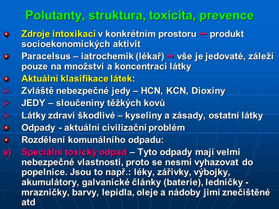 Polutanty, struktura, toxicita, prevence