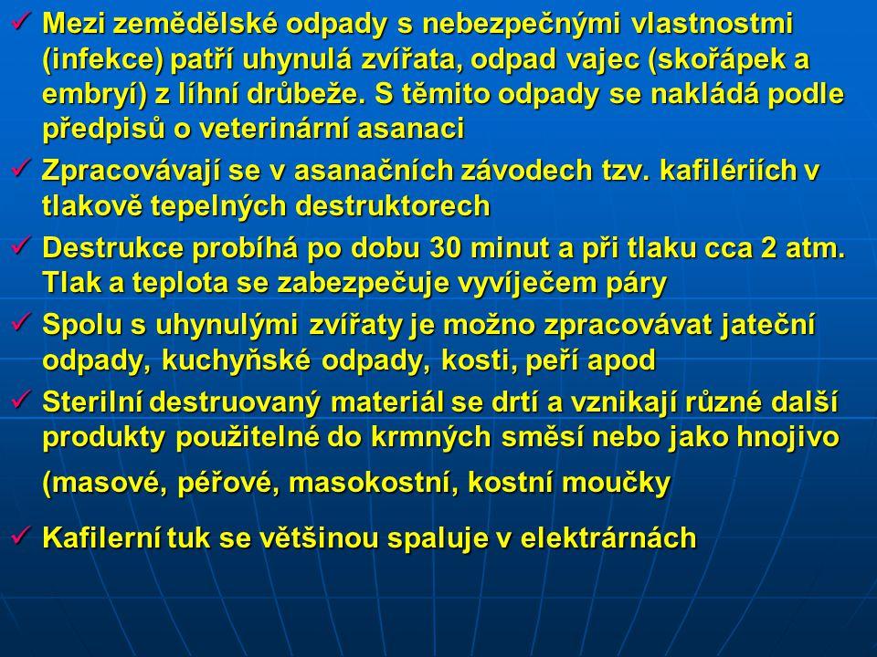 Mezi zemědělské odpady s nebezpečnými vlastnostmi (infekce) patří uhynulá zvířata, odpad vajec (skořápek a embryí) z líhní drůbeže. S těmito odpady se nakládá podle předpisů o veterinární asanaci