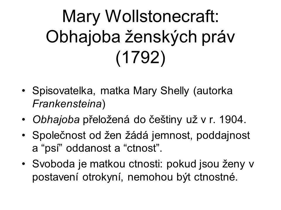 Mary Wollstonecraft: Obhajoba ženských práv (1792)