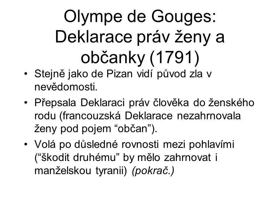 Olympe de Gouges: Deklarace práv ženy a občanky (1791)