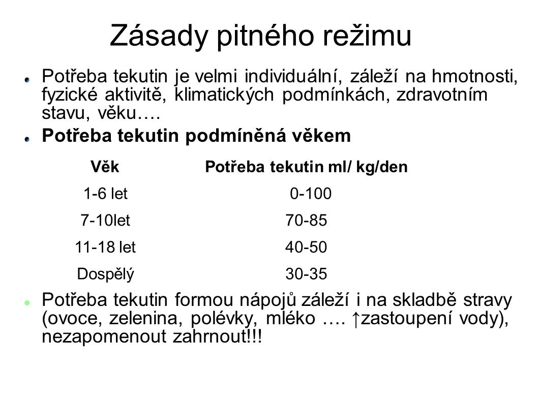 Potřeba tekutin ml/ kg/den
