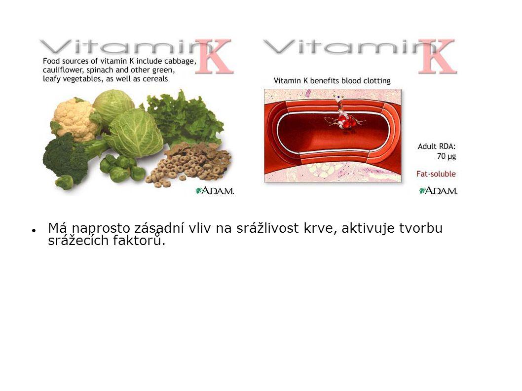 Má naprosto zásadní vliv na srážlivost krve, aktivuje tvorbu srážecích faktorů.