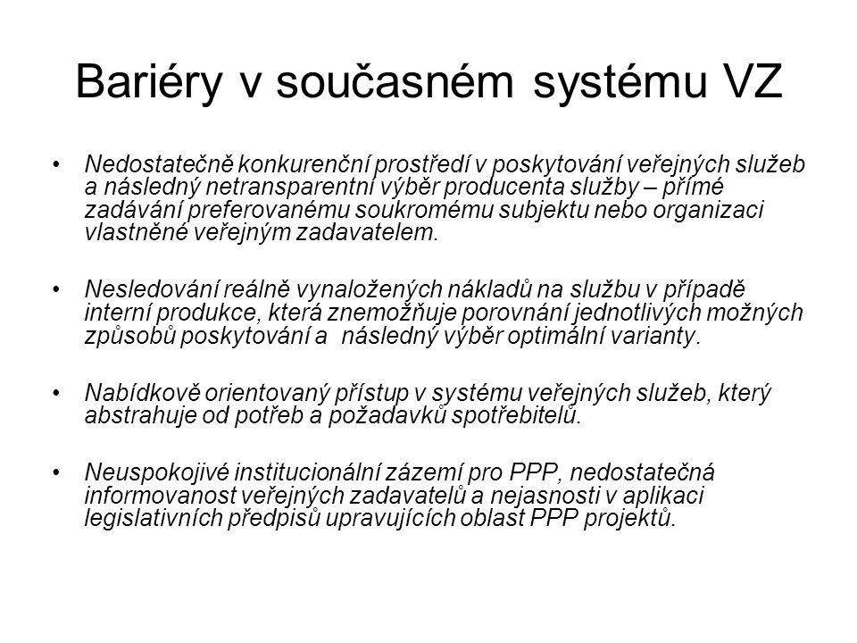 Bariéry v současném systému VZ