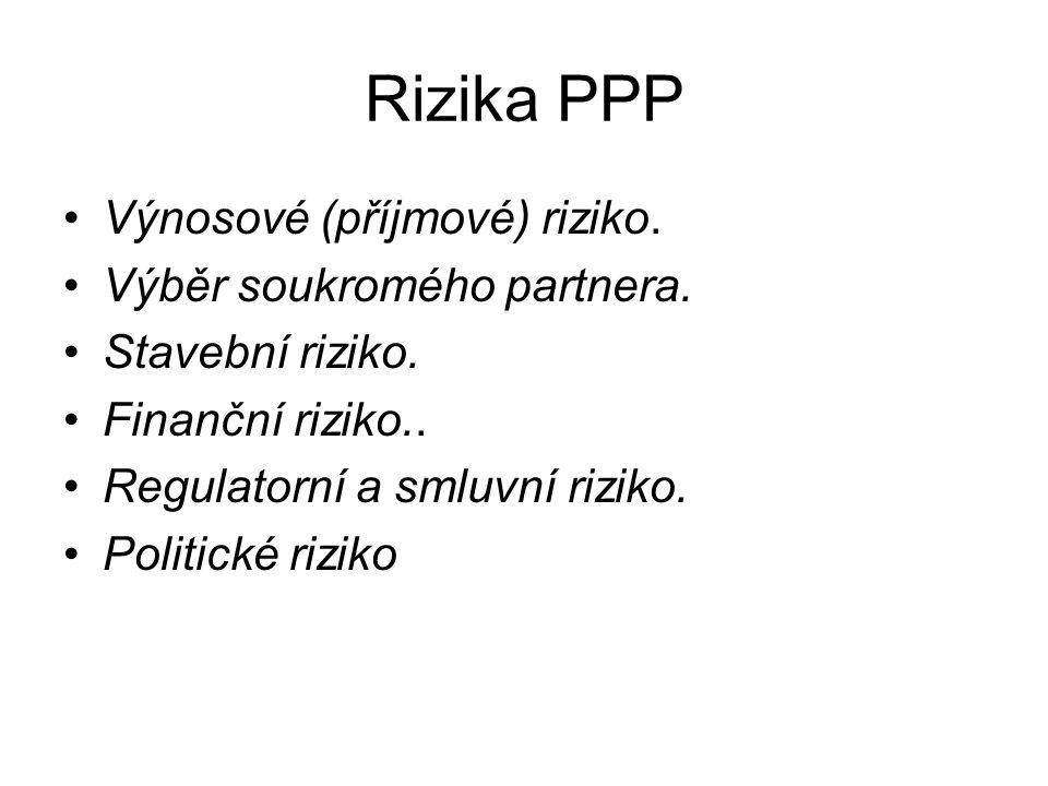 Rizika PPP Výnosové (příjmové) riziko. Výběr soukromého partnera.