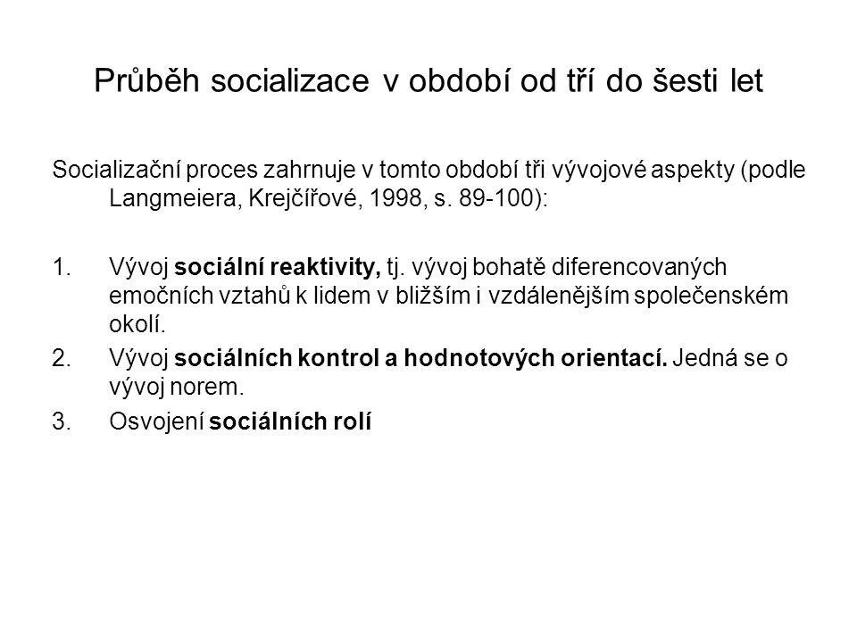 Průběh socializace v období od tří do šesti let