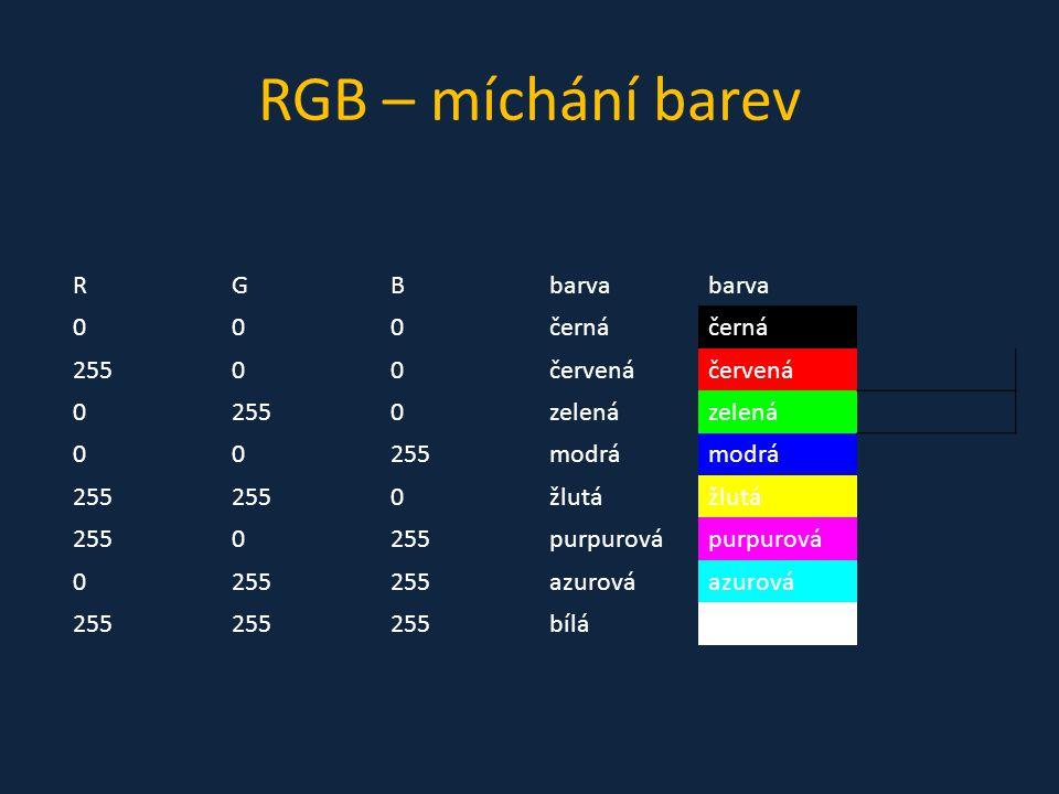 RGB – míchání barev R G B barva černá 255 červená zelená modrá žlutá