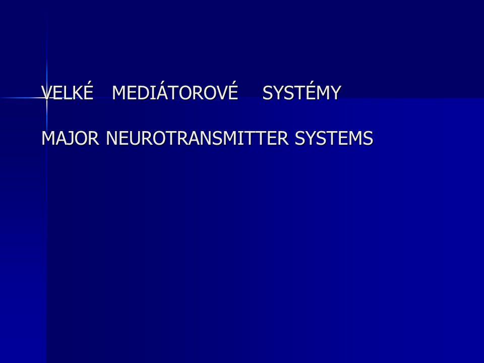 VELKÉ MEDIÁTOROVÉ SYSTÉMY MAJOR NEUROTRANSMITTER SYSTEMS