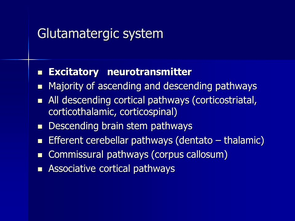 Glutamatergic system Excitatory neurotransmitter